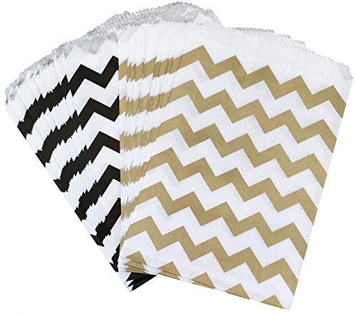 (Outside the Box Papers Black and Gold Chevron Treat Sacks 5.5 x 7.5 48 Pack Black, Gold, White)
