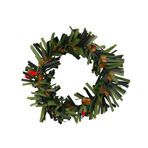 - jufengliangyou Harvest Fall Front Door Autumn Wreath Festive Fall Wreath Thanksgiving Wreath with Mixed Maple Leaves, Twigs and Berries (Green)