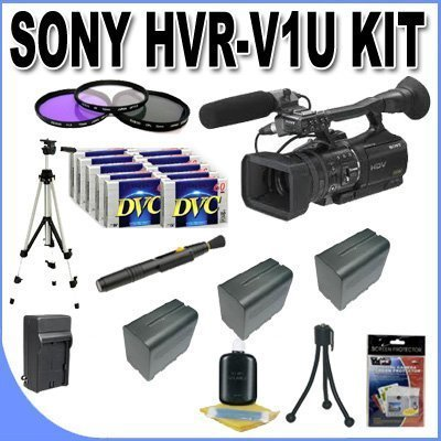 Sony HVR-V1U HDV Camcorder + 3 Extended Life Batteries + Ac/Dc Charger + 3 Piece Multicoated Filter Kit + 10 Dv Tapes + Full Size Tripod + Master Works Producing DVD + Accessory Saver Kit & More!!! by Sony
