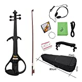 Walmeck Electric Violin Fiddle Maple Wood Stringed Instrument Ebony Fretboard Violin for Beginner.