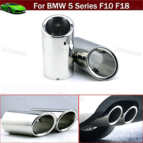 - 2pcs Silver Color Stainless Steel Exhaust Muffler Rear Tail Pipe Tip Tailpipe Extension Pipes Custom Fit for BMW 5 Series F10 F18 2008 2009 2010 2011 2012 2013 2014 2015 2016 2017 2018 2019