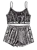 ROMWE Women's Sport 2 Pieces Spaghetti Strap Crop Tank Top and Shorts Sweatsuits Set Gray M