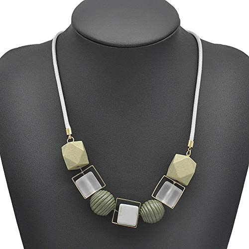 Kaputar Geometrical Women Simple Necklace Statement Pendants Wood Beads Girl Jewelry   Model NCKLCS - 16644 ()