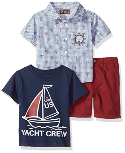 Nannette Baby Boys 3 Piece Button Down Shirt Tee and Short