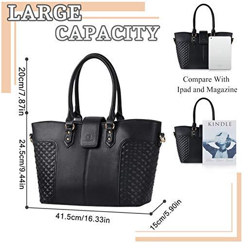Fanspack Women's PU Leather Tote Bag Lattice Pattern Top Handle Tote Handbags Crossbody Shoulder Bag Purses and Handbags by Fanspack (Image #1)