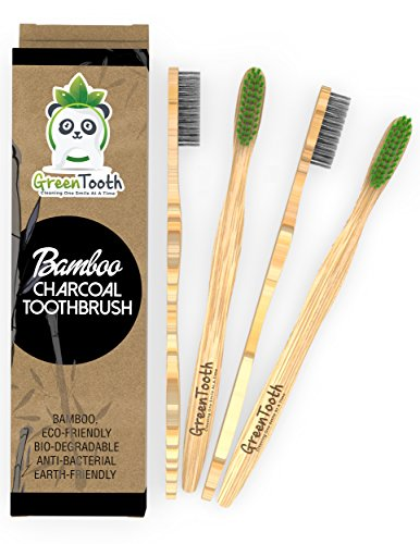 Bamboo Toothbrush, Charcoal Infused Medium Bristles, Made From Organic, Natural, Eco-Friendly and Biodegradable materials. Pack of 4