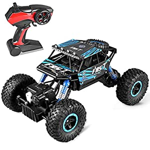 ZJTL Remote Control Toy Blue Rally Buggy RC Car 2.4Ghz 4 WD High Speed Crawler 1:18 Scale Size w/ Working Suspension, Spring Shock