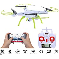 SYMA X5HC Quadcopter Drone, WIFI RC Pocket Drone, 2.4GHz 4CH 6-Axis Gyro, 2.0MP HD FPV Camera, Headless Mode with Night Light(White + 4GB SD Card)
