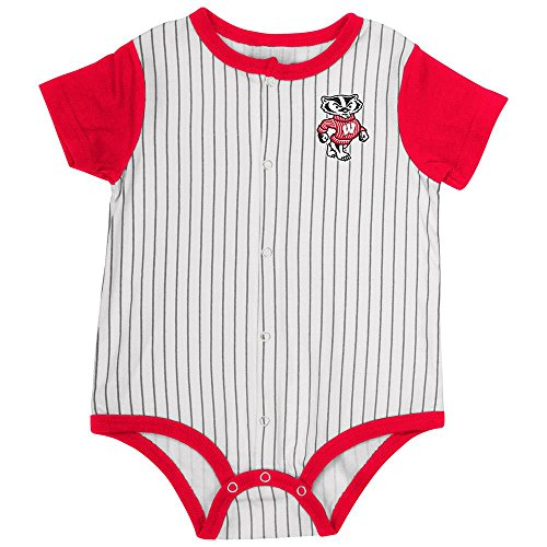 Colosseum Infant Wisconsin Badgers Baseball Pinstripe Bodysuit - 0 to 3 Months