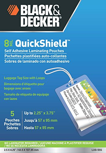 BLACK + DECKER QuickShield  Self-Adhesive Luggage Tag Laminating Pouches, 8-mil, 5 Pack - Tags Laminated Luggage