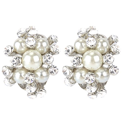 (EVER FAITH Austrian Crystal Cream Simulated Pearl Bridal Cluster Pierced Stud Earrings Clear Silver-Tone)