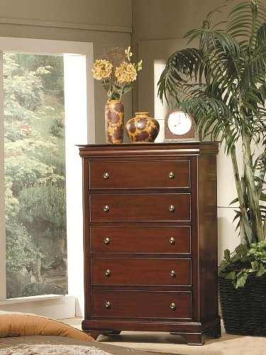 Coaster 201485 Versailles Deep Mahogany 5 Drawer Chest With Lift Top (Accent Chest Versailles)
