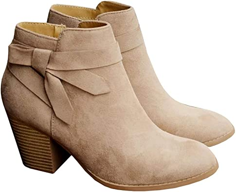 Womens Fall Ankle Boots Bow Tie Strap