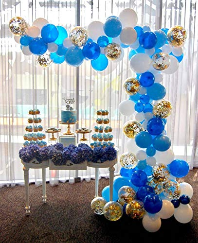 PartyWoo Blue White Gold Balloons, 70 pcs Royal Blue Balloons, White Balloons, Light Blue Balloons, Gold Confetti Balloons for Royal Baby Shower, Royal Birthday Party Decorations, Royal Bridal Shower]()