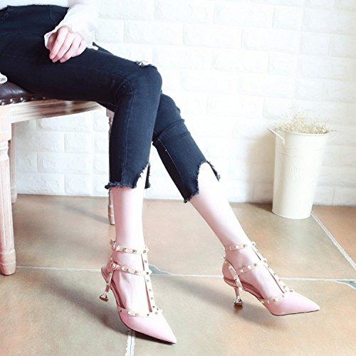 señaló Señoras de tacón Verano Cuero Patente Delgado gules YMFIE Zapatos de Tirantes Superficial Sandalias Remaches Moda zUaBTnq