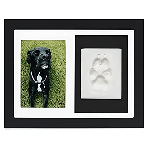 Paw Prints Keepsake Photo Frame by Better World Pets – Holds 4 x 6 inch Picture – Memorial Clay Imprint Kit – For Dogs and Cats – Perfect for Pet Lovers – Wall - Picture Paw Print