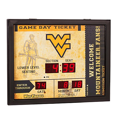 Team Sports America NCAA Bluetooth Scoreboard Wall Clock, West Virginia Mountaineer