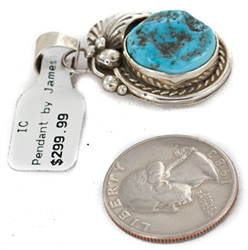 Delicate $300 Retail Tag Authentic Silver Handmade Made by Mae Peshlakai Navajo Natural Turquoise Native American Pendant by Native-Bay (Image #3)
