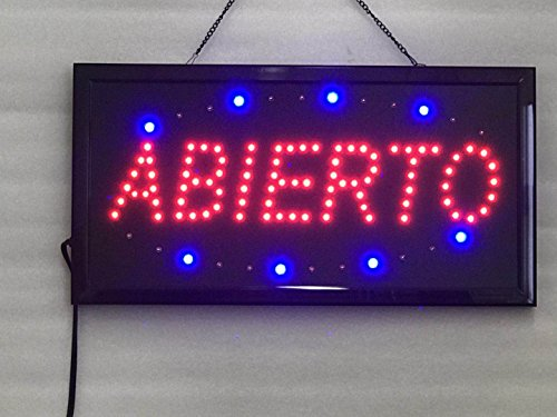 Sign Open Abierto Neon - UPSUN Neon Sign OPEN,LED business open sign advertisement board Electric Display Sign, Two Modes Flashing & Steady light, for business, walls, window, shop, bar, hotel(ABIERTO)