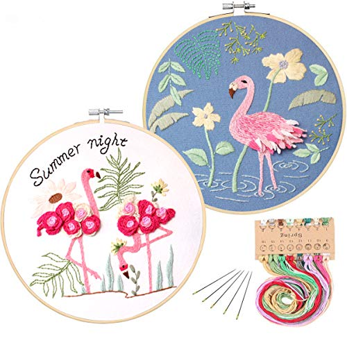 Kakeah 2 Pack Full Range of Stamped Embroidery Starter Kit with Pattern and Instructions, Including Embroidery Cloth with Pattern,Plastic Embroidery Kits (Flamingo Set)
