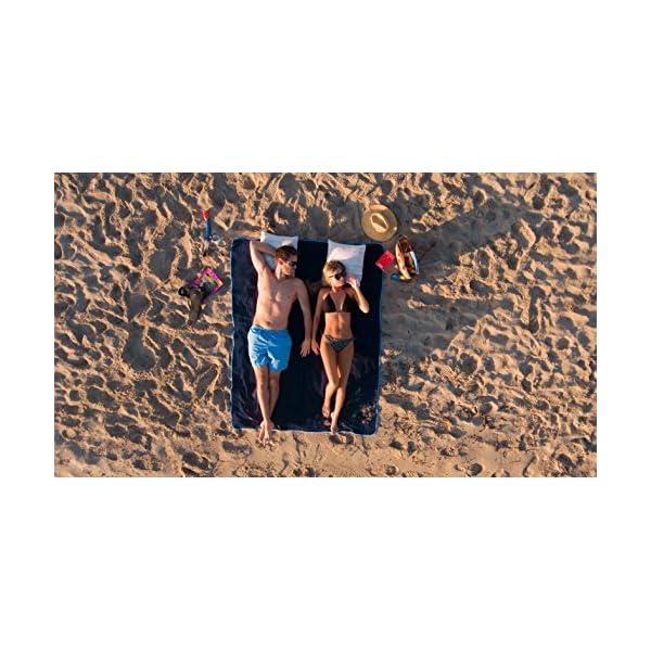 Sowel® Telo Mare Grande, 100% Cotone Organico GOTS, 160 x 200 cm, Asciugamano Mare, Fouta, Blu/Giallo 4 spesavip