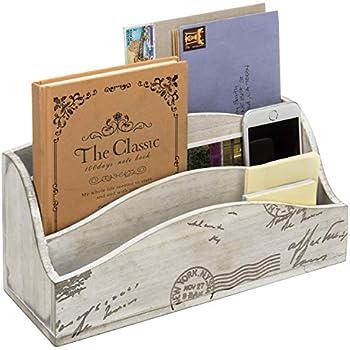 MyGift Beige Vintage Style Postcard Design Wood Mail Sorter/Desktop Office Supply Storage Box