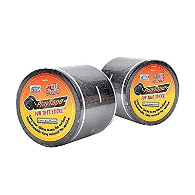 PlayTape Black Road - 2 Pack of Road Car Tape Great for Kids, Sticker Roll for Cars Track and Train Sets, Stick to Floors and Walls, Quick Cleanup, Children Toys Birthday Gift (30'x2 - 2 Rolls, Black): Toys & Games