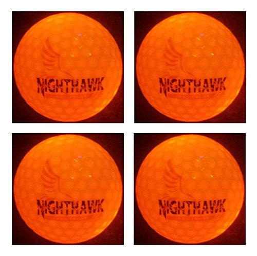 4 Orange Nighthawk Glow In Dark LED Light Up Golf Balls, Official Size Constant (Night Glow Golf Balls)