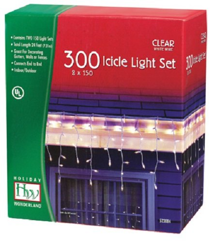 Holiday Wonderland 14084W-88 300 ct Clear Icicle Light Sets - Quantity 4 by Holiday Wonderland