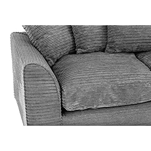 Abakus Direct Jumbo Full Cord 3 Seater in Grey