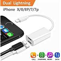 iPhone 7 Plus Adapter & Splitter, CaseyPop Dual Lightning Headphone Audio & Charge Adapter Accessories for iPhone X/8/8 Plus/7/7 Plus (IOS 11) White