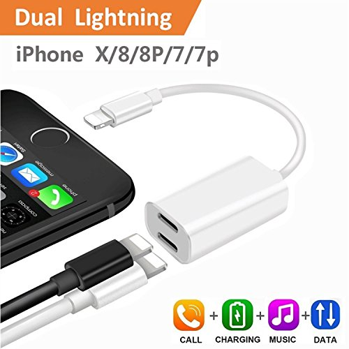 iPhone 7 Plus Adapter & Splitter, CaseyPop Dual Lightning Headphone Audio & Charge Adapter Accessories for iPhone X / 8 / 8 Plus / 7 / 7 Plus (IOS 11) White