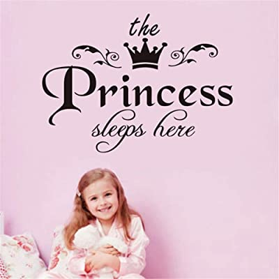 "QISHENG The Princess Sleeps Here Wall Decal Vinyl Sticker for Kids Baby Girls Bedroom Decoration Nursery Home Decor Mural Design (The Princess Sleeps here, 40cm X 30cm(15.7""X11.8"")): Baby"