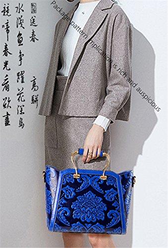 La mujer china Xinmaoyuan Bolsos Bolso flor la presión del viento patrón floral solo hombro Satchel Retro dama bolsa,rojo Blue
