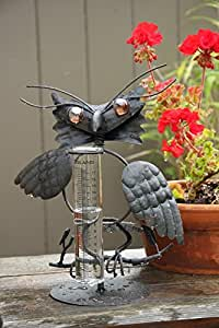 Toland Home Garden 210606 13-Inch Tabletop Owl Rain Gauge