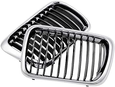 Pair Chrome Front Hood Kidney Sport Grills Grille for BMW 3 Series E36 1997-1999