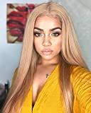 FUHSI Kanekalon Fiber 13×6 Inch Lace Real Natural For Women - Soft & Smooth, Straight Lace Front Wig, Elastic Straps, Comfortable & Adjustable -Color 103# Blonde 250D 22