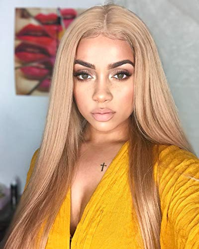 FUHSI Kanekalon Fiber 13×6 Inch Lace Real Natural For Women - Soft & Smooth, Straight Lace Front Wig, Elastic Straps, Comfortable & Adjustable -Color 103# Blonde 250D 22""