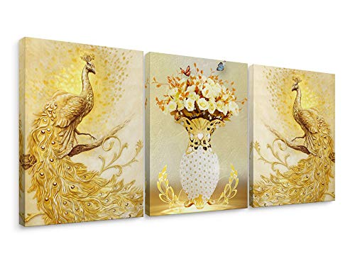 Niwo Art – Peacock Combo Golden, Bird Series Canvas Wall Art Home Decor,Framed Ready to Hang
