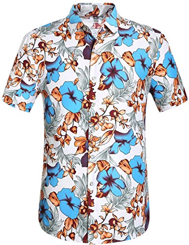 (Leisurely Pace Men's Hawaiian Aloha Shirt Short Sleeve Tropical Floral Print Button Down Shirt (08BL,S))