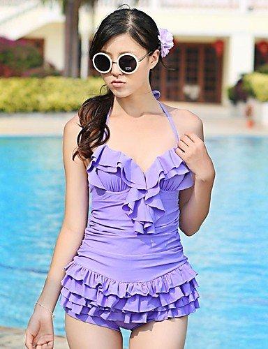 skt-swimwear Damen Halfter one-pieces, massiv/Rüschen Spandex Pink/Lila