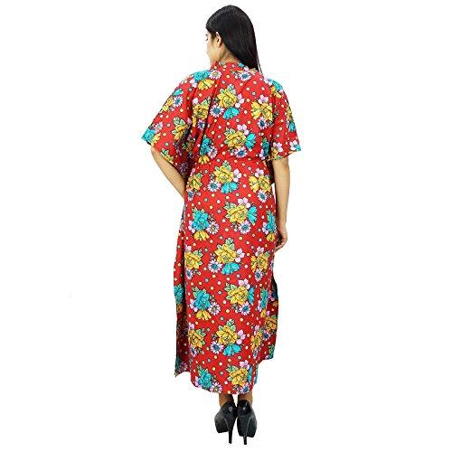 Beach Cover Up Kaftan Boho hippy New Indian más mujeres del tamaño del desgaste del vestido caftán Rojo y azul-1