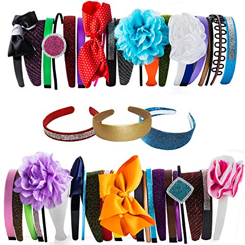Satin Headband - 12 Hard Headbands - Ribbon Hairband for Women by CoverYourHair (12 Pack Assorted Headbands) (Purple Elegance Wool Hat)