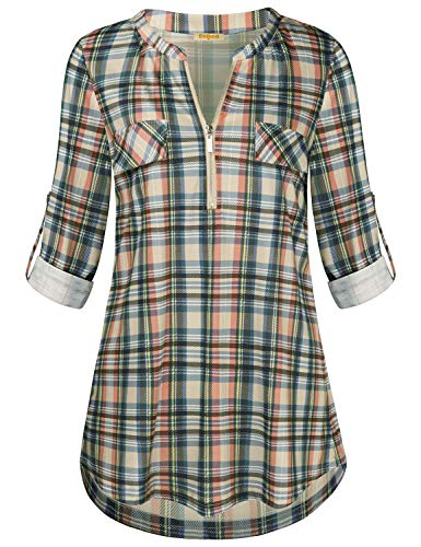 (Baikea 3 Quarter Sleeve Shirts Women, Ladies Notch V Neck Zip Up Blouse with Front Pockets Button Trim Loose Fit Tops for Leggings Checkered Office Tunic Apricot Plaid XXL)
