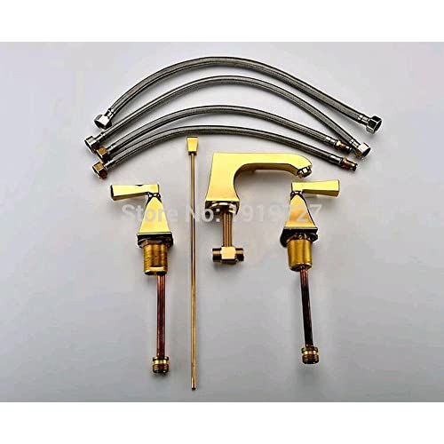 "free shipping PST@ Solid Brass 8"" Widespread 3pcs Widespread Lavatory Sink Basin Faucet Mixer Tap Gold-Pvd Color"