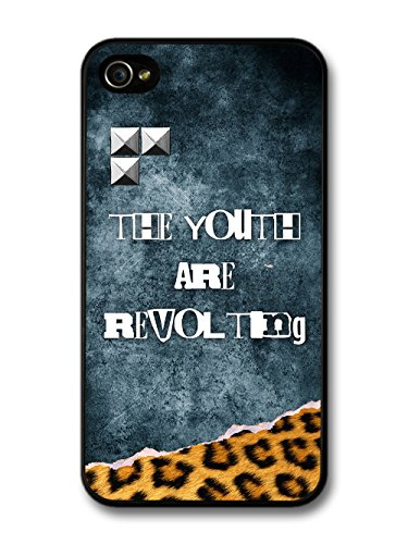 The Youth are Revolting Quote Punk Anarchy Goth Grunge wiht Leopard Print case for iPhone 4 4S