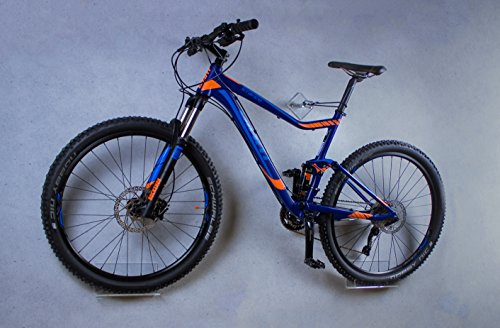trelixx Fahrrad Wandhalter Mountainbike aus Plexiglas®, Design Radhalter Wandmontage, 1000fach bewährt