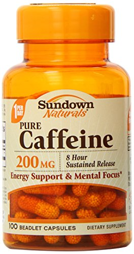 Sundown Naturals Caffeine Capsule, 200 mg, 100 Count