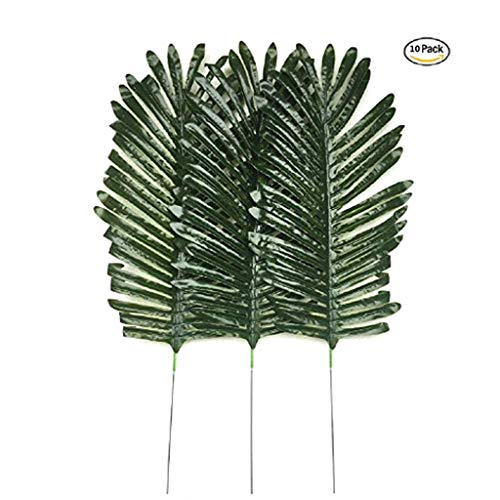 - Gecter Lot of 10 Artificial Palm Leaves Tropical Plant Party Decorations Room Decor (Darkgreen1)