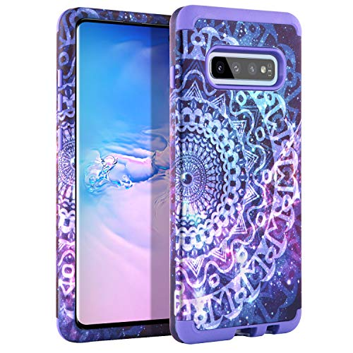 GUAGUA Samsung Galaxy S10 Case Mandala Flowers Floral for Girls Women Shockproof Protective Hybrid Hard PC TPU Cover Bumper Scratch Resistant Stars Space Nebula for Samsung Galaxy S10 6.1-inch, Purple